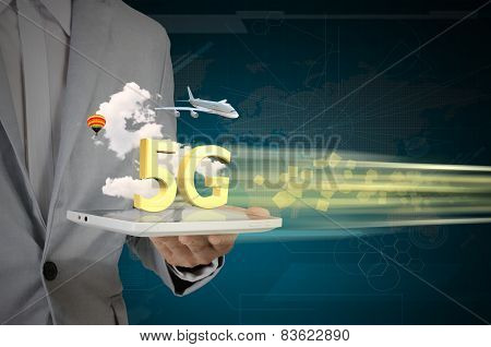 Business Man Use Tablet Pc On 5G High Speed Network