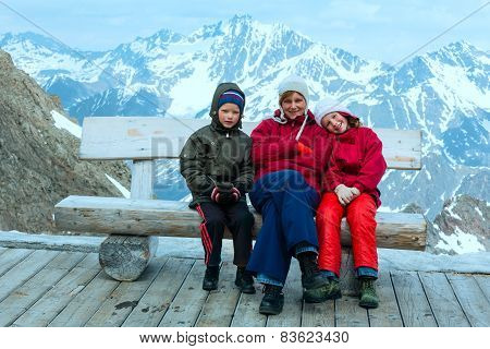 Family In Alp Mountain (austria)