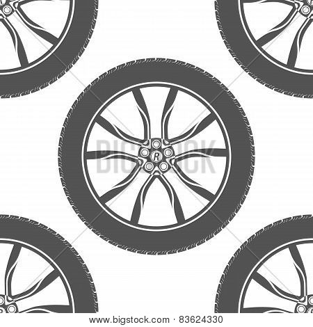 Vector seamless pattern of car wheels