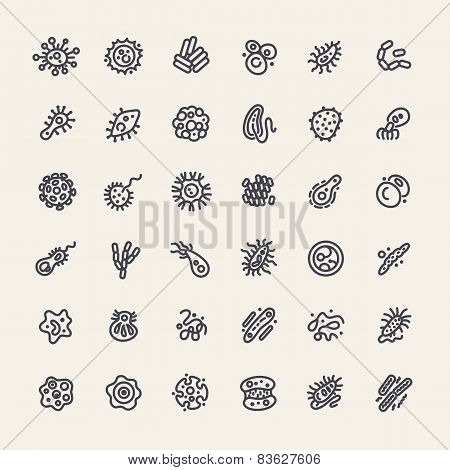 Set of 36 Icons with Bacteria and Germs