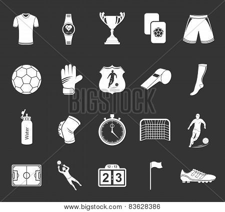Set Of Vector Icons Or Symbols Of Football