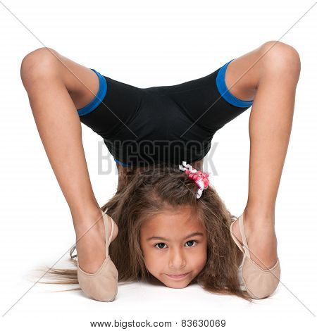 Little Gymnast Does Exercises