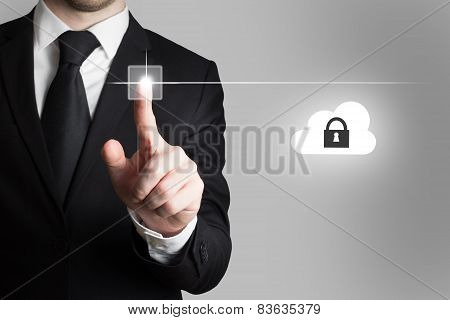 Businessman Pressing Touchscreen Button Cloud Security