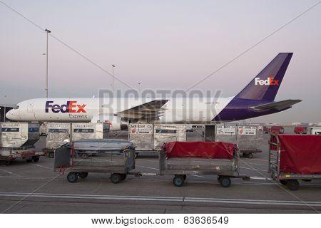 Boeing 757 cargo plane on schiphol airport