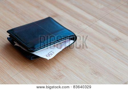 Wallet With British Pound Note.