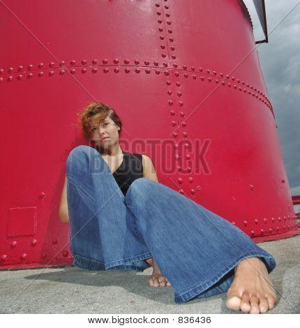 girl red feet