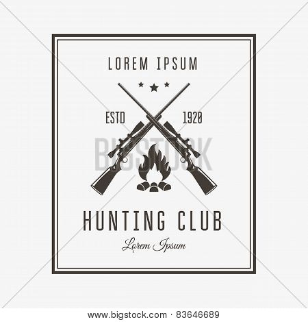 Vector vintage logo or emblem for the hunting club. Rifle and campfire silhouette. poster