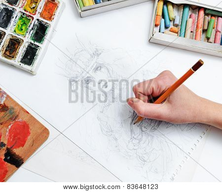 Artist draws sketch