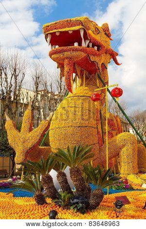 MENTON, FRANCE - FEBRUARY 20: 82th Lemon Festival (Fete du Citron) in Menton on French Riviera. Ment
