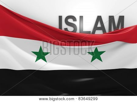 Islam in Syria concept, with Syrian flag and text