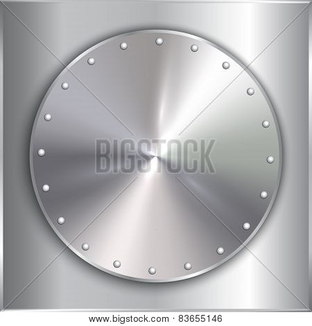 Vector steel metal round golden plate with rivets
