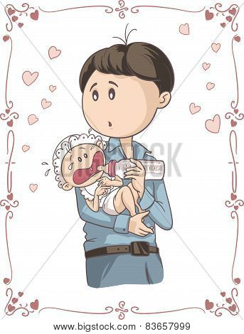Father Feeding Crying Baby Vector Cartoon