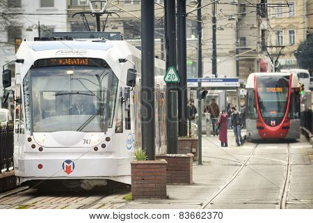 Modern Tram In Istanbul, Turkey