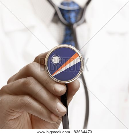 Stethoscope With National Flag Conceptual Series - Marshall Islands
