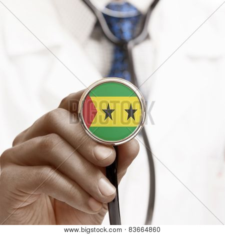 Stethoscope With National Flag Conceptual Series - Sao Tome And Principe