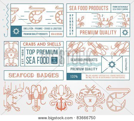 Seafood Labels And Badges Vol. 4 Colored