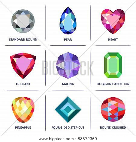 Low Poly Popular Colored Gems Cuts Infographics