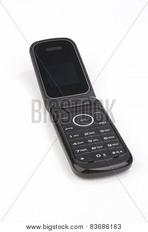 Flip Cell Mobile Cell Phone On White Background