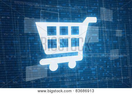 Shopping cart on digital background