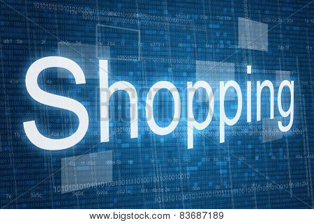 Shopping word on digital background