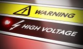 Electric shock concept. Control panel with red light and warning. Conceptual image symbol of electrocution risk. poster