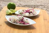 Overhead shot of Peruvian ceviche (raw fish and red onion marinated in lime juice with garlic salt and coriander) on wooden board on sand photographed with natural light (Selective Focus Focus on the fish piece on the top) poster