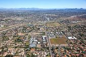 Aerial view of North Phoenix Arizona along Thunderbird Road looking east poster