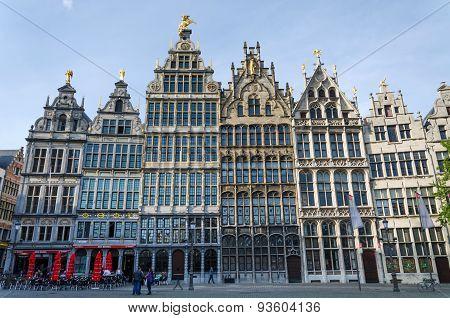 Antwerp, Belgium - May 10, 2015: Tourist Visit The Grand Place (grote Markt) In Antwerp, Belgium.