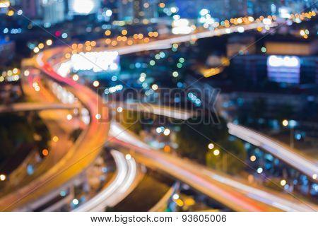 Blur city traffic lights during twilight