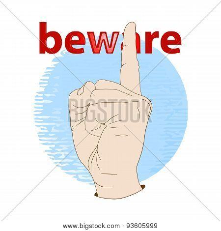 Hand with index finger up.