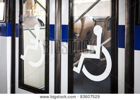 Handicap Sign On Bus Door Entrance