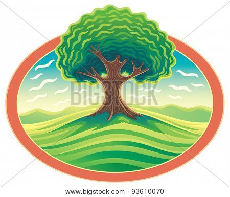 Vector landscape with tree.