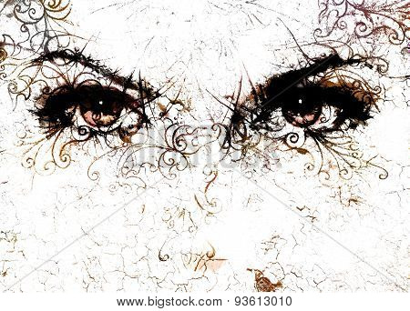 Women Eyes And  Crackle Effect And Ornaments On White Background.