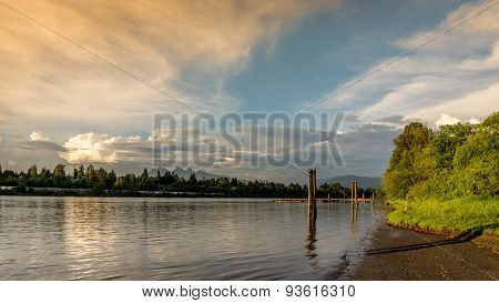 Sunset over the Fraser River