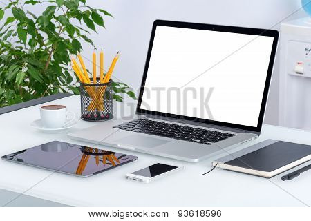 Open Laptop Mockup With Digital Tablet And Smartphone On The Office Desk Workspace