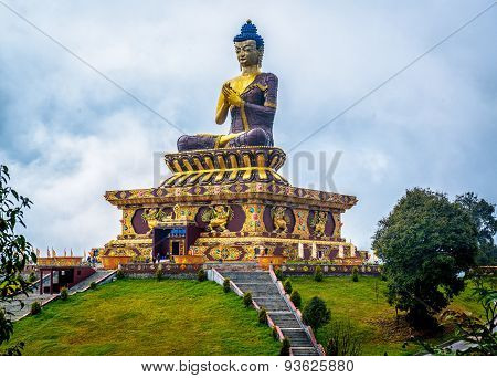 giant Buddha statue at Ravangla, Sikkim, India.