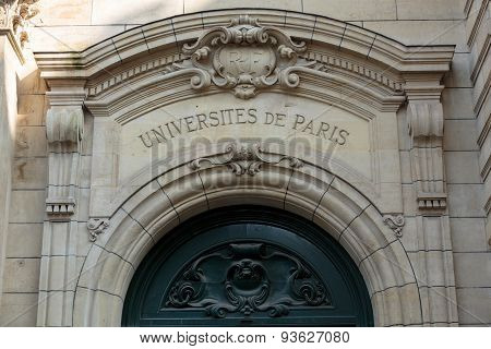PARIS, FRANCE - SEPTEMBER 8, 2014: Sorbonne University in Paris. Name is derived from College de Sorbonne founded in 1257 by Robert de Sorbon as one of the first colleges of medieval University in Paris. France