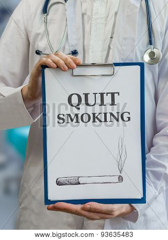 Doctor is warning and giving advice to stop and quit smoking poster