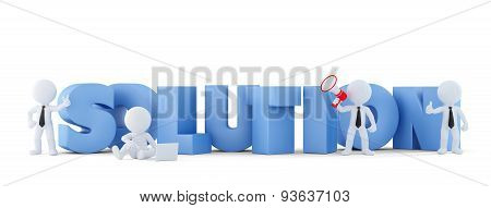 Group of businesspeople with SOLUTION sign. Business concept.Isolated. 3D illustration. Isolated. Contains clipping path