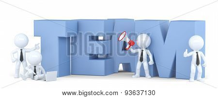 Group of businesspeople with TEAM sign. Business concept.Isolated. 3D illustration. Isolated. Contains clipping path