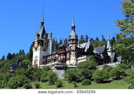 Castle in Romania. Peles Castle is a beautiful Neo-Renaissance landmark. poster