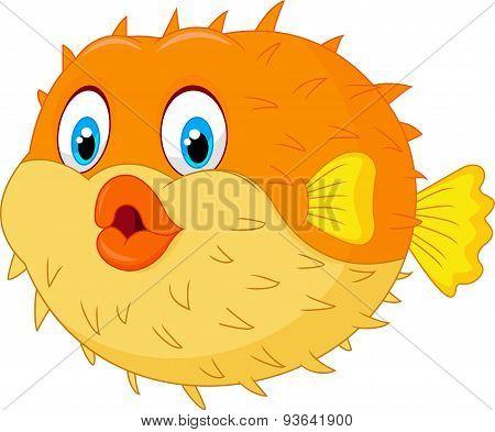 Cute puffer fish cartoon