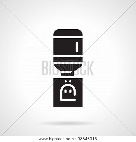 Electric water cooler black vector icon