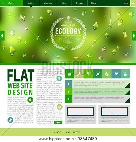 Flat Web Site Design. Ecology Background