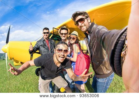 Best Friends Taking Selfie At Aeroclub With Ultra Light Airplane - Happy Friendship Fun Concept