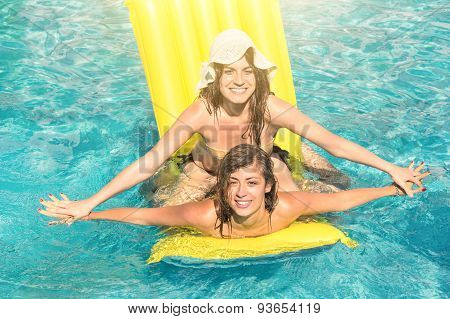 Best Friends In Bikini Enjoying Time Together Outdoors In Swimming Pool - Summer Happiness