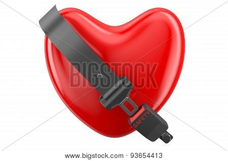 Safety Heart Concept, Heart With Safety Belt