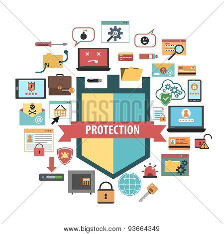 Computer protection security concept  icons composition