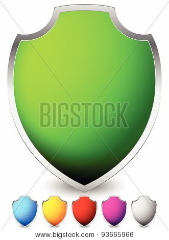 Glossy, Blank Shield Shapes. Several Colors Included. (green, Blue, Yellow, Red...)