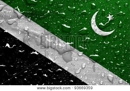 flag of Islamabad with rain drops
